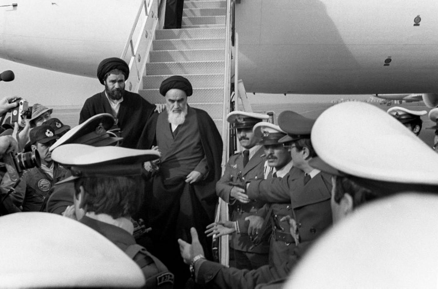 The Ayatollah Khomeini arrives in Tehran - but many Iranians went overseas after the 1979 revolution (file)