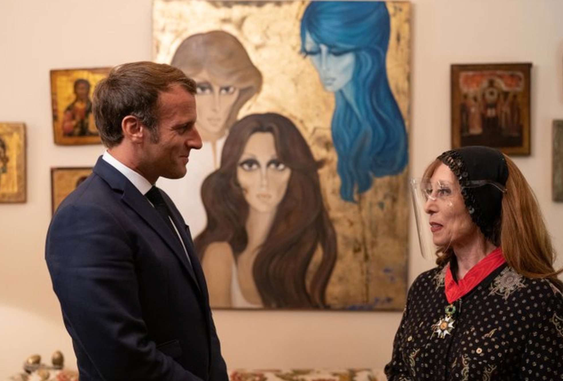 Unmasked Macron meets legendary Lebanese singer Fairuz   Middle East Eye