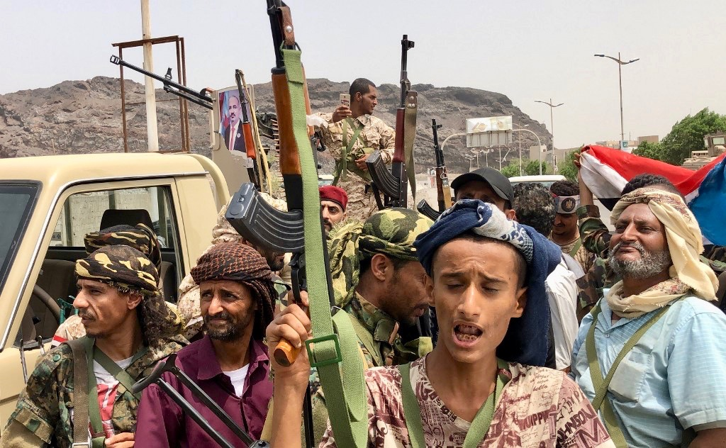 Yemeni supporters of the Southern Transitional Council separatist movement in Aden (AFP)