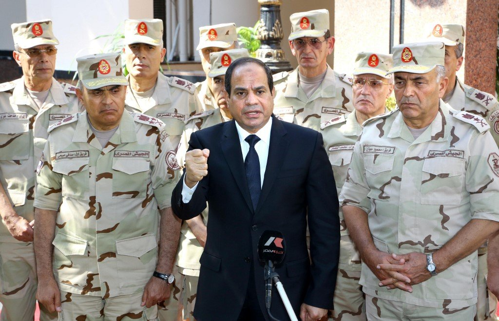 Egyptian President Abdel Fattah El-Sisi and top army generals (AFP)