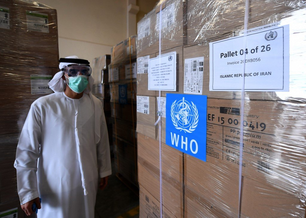 Medical equipment and coronavirus testing kits provided by the World Health Organization are pictured in Dubai, en route to Iran, on 2 March (AFP)