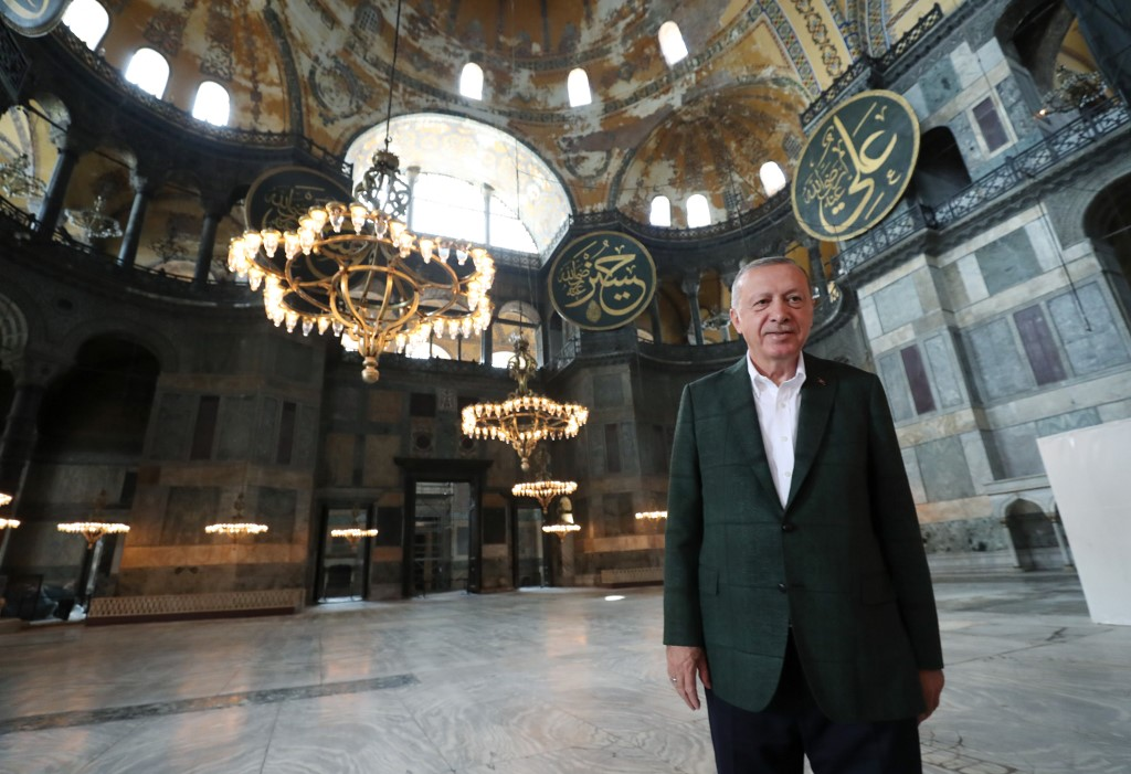 Erdogan visits the Hagia Sophia in Istanbul on 19 July (Turkish Presidential Press Service/AFP)