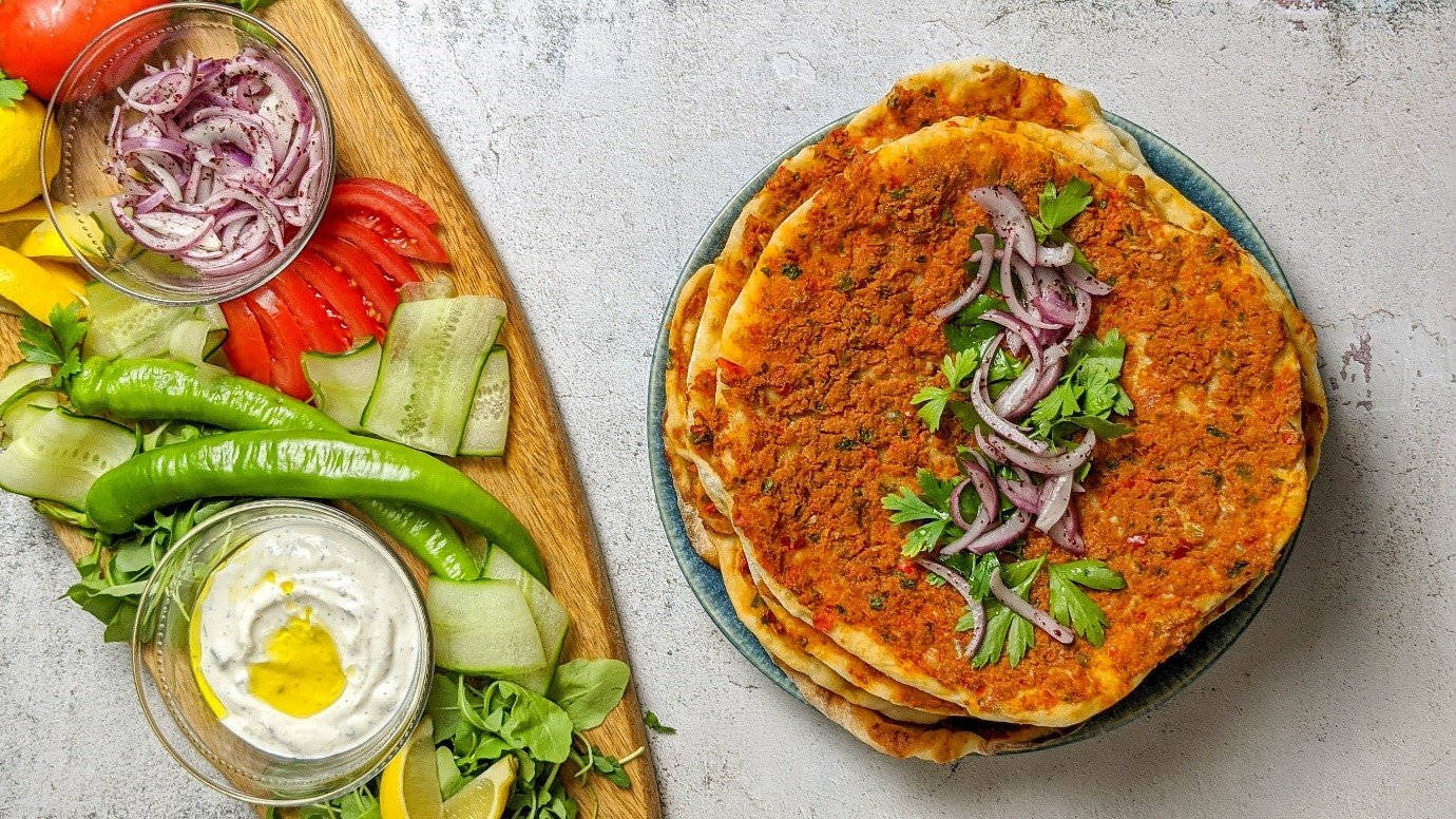 How to make lahmacun: Turkish flatbreads with a meat and vegetable topping