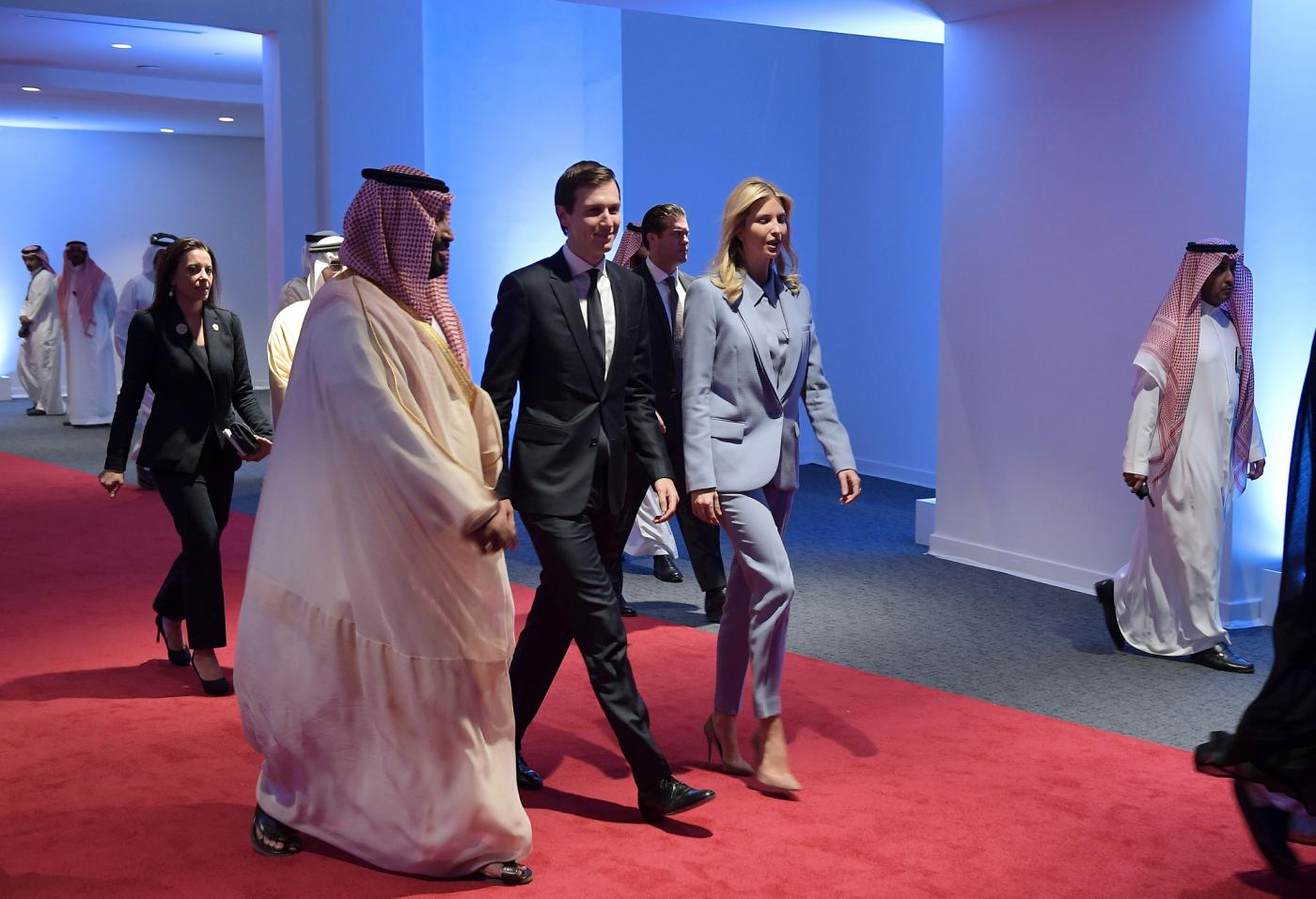 Saudi Crown Prince Mohammed bin Salman walks with US presidential adviser Jared Kushner and his wife, Ivanka Trump, in 2017 (AFP/File photo)
