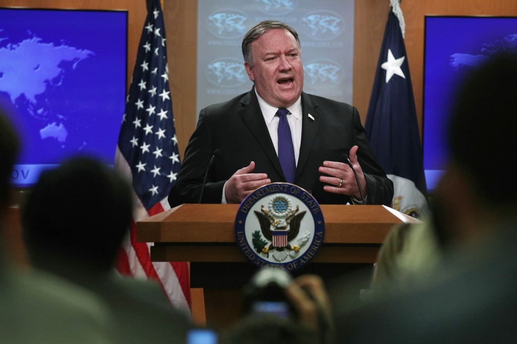 Image: US Secretary of State Mike Pompeo speaks in Washington on 10 June (AFP)