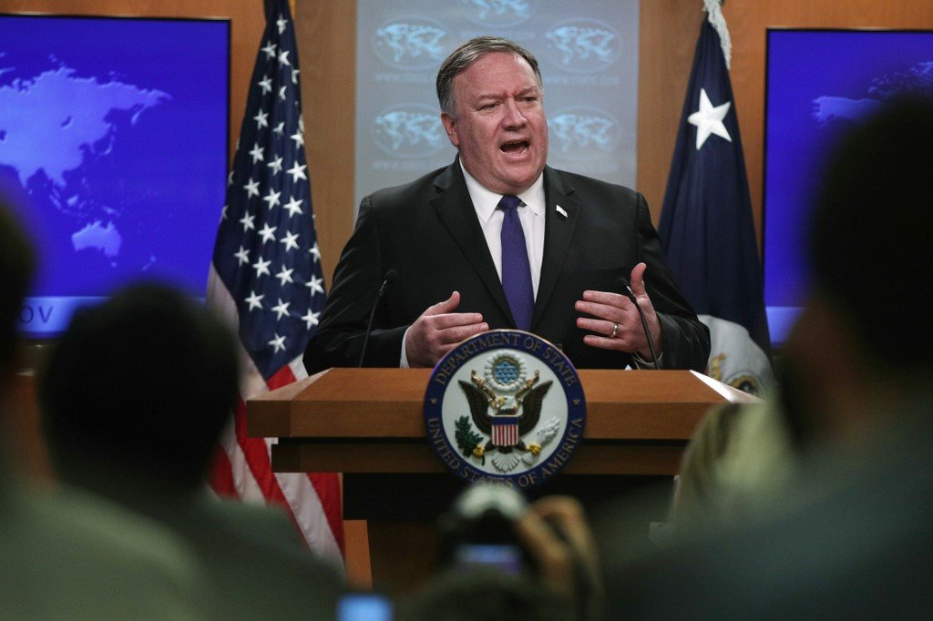 US Secretary of State Mike Pompeo speaks in Washington on 10 June (AFP)