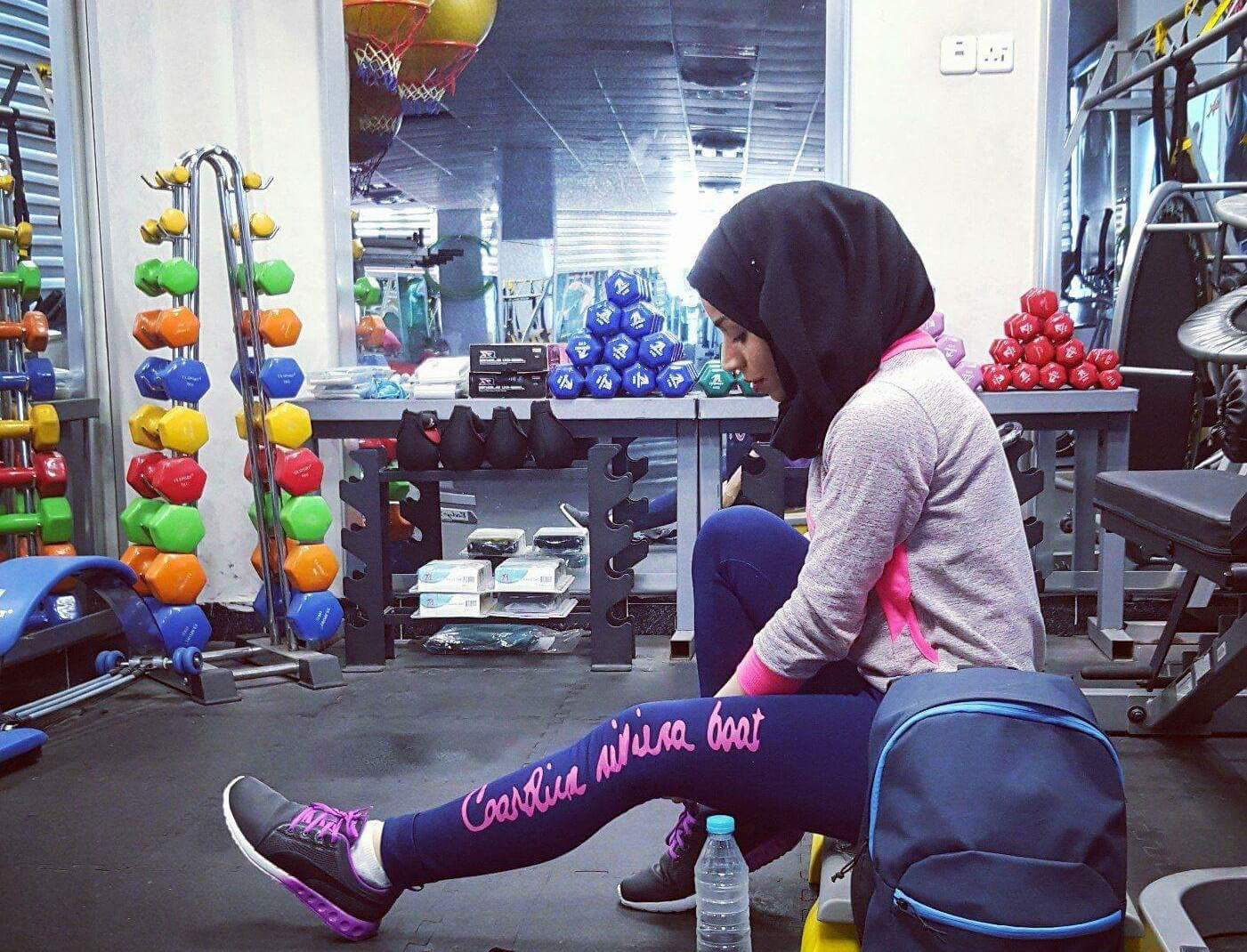 Riham Yacoub in her gym in Basra (Facebook)