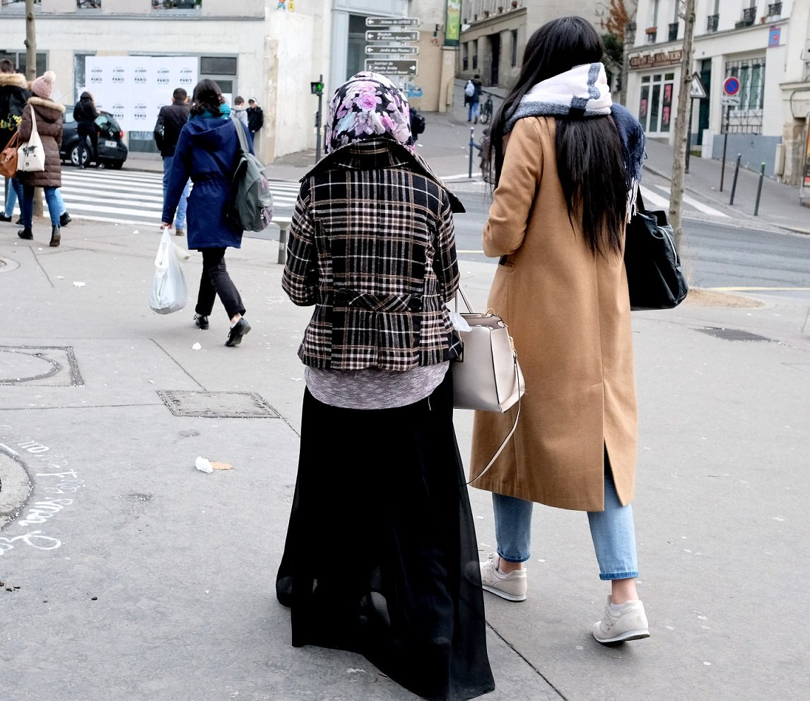 Women in veils demonstrate for the right to accompany their children on school trips, despite the ban on veils in French public schools, in 2013 in Paris (AFP)