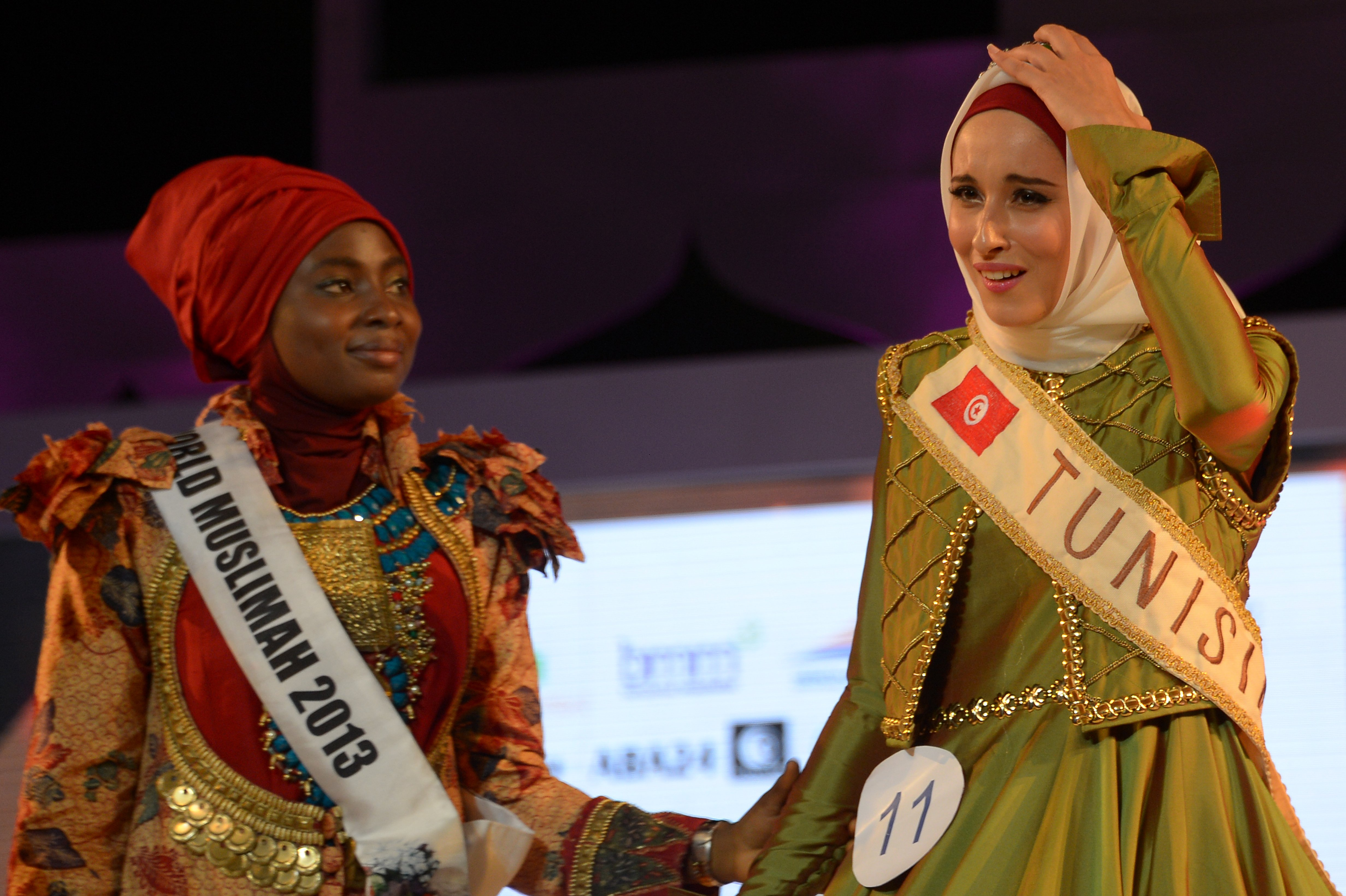 tunisian wins muslim beauty pageant calls for free