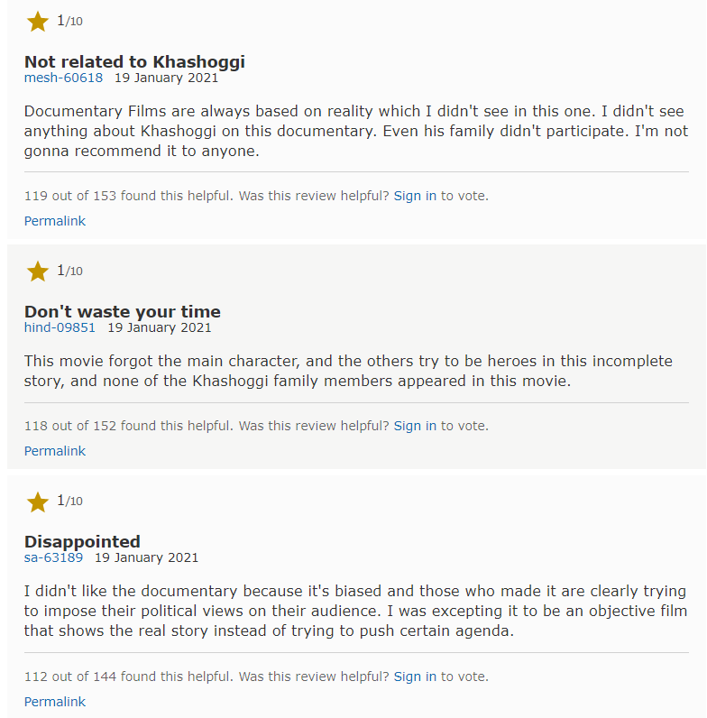 imdb the dissident comments