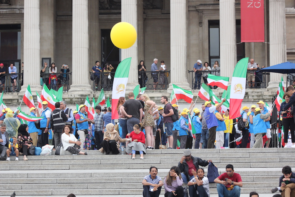 NCRI supporters gather in Trafalgar Square (Alex MacDonald)