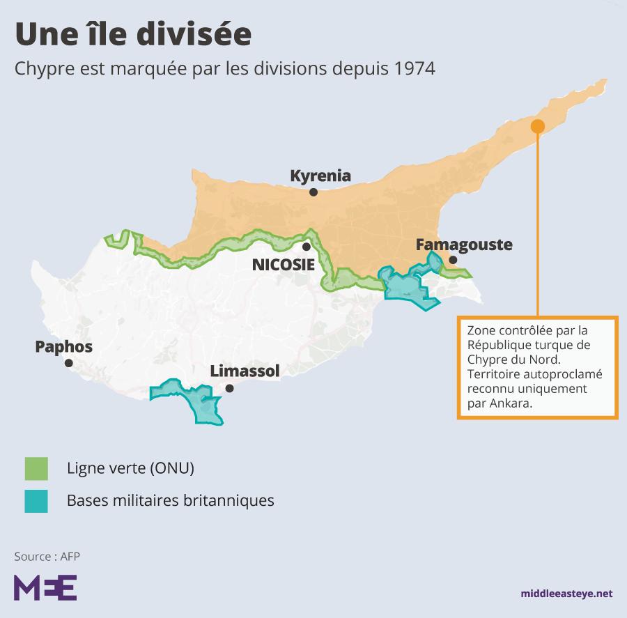 Carte Chypre divisée