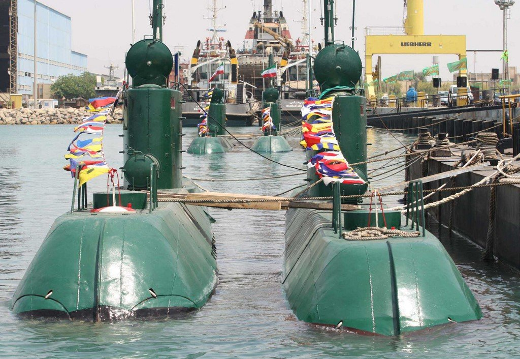 Iranian submarines are unveiled in Bandar Abbas in 2010 (AFP)