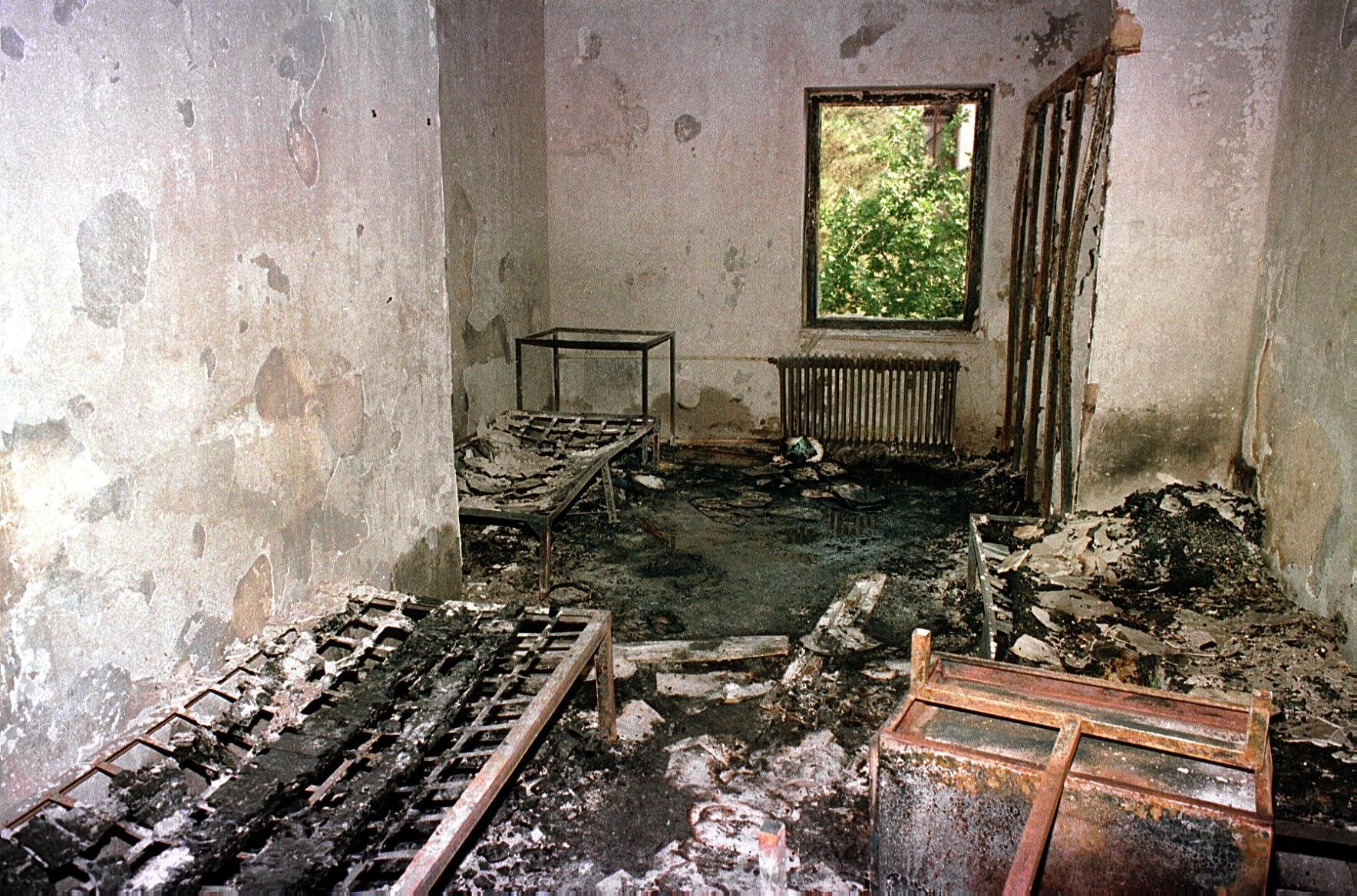 A burnt out room in a University of Tehran dormitory on 10 July 1999 (AFP)