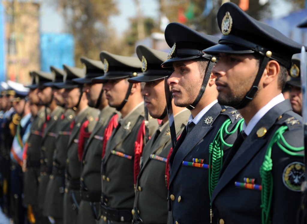 Iranian cadets stand at attention in Tehran in 2011 (Khamenei.ir/AFP)