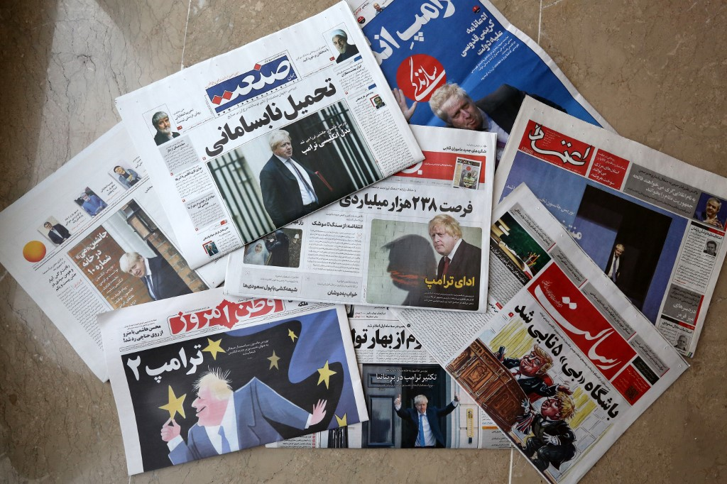 Iranian newspapers covered Boris Johnson's win extensively (AFP)
