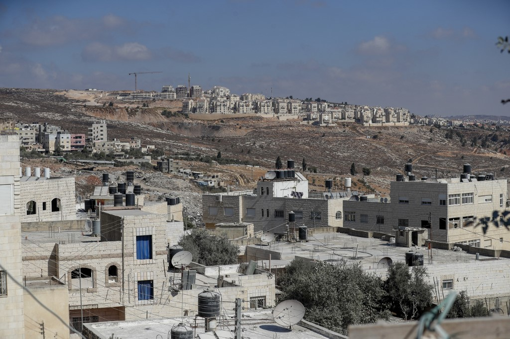An Israeli settlement in the occupied West Bank is pictured on 14 October (AFP)