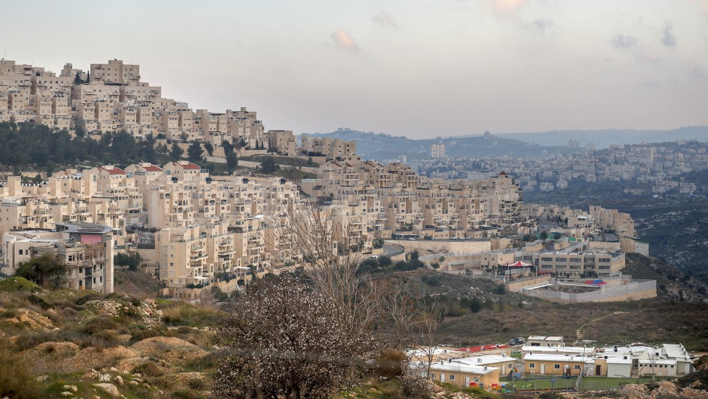 The Israeli settlement of Har Homa is pictured on 20 February (AFP)
