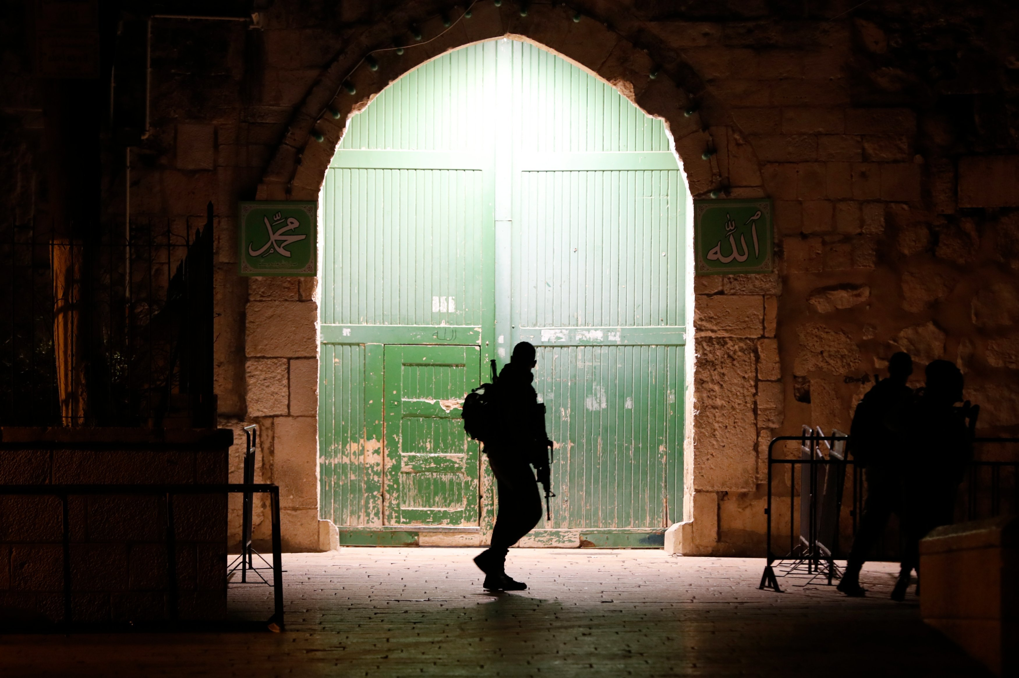 Israeli border guards patrol an entrance to the al-Aqsa compound in Jerusalem's Old City on 19 February 2019 (AFP)