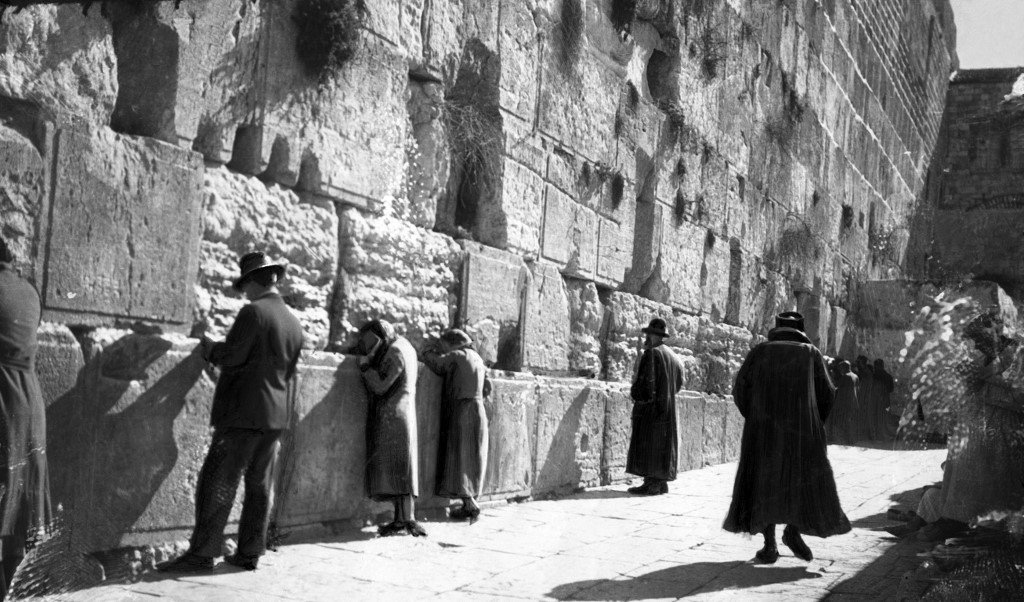 Jews pray at the Western Wall in Jerusalem in 1936 (AFP)