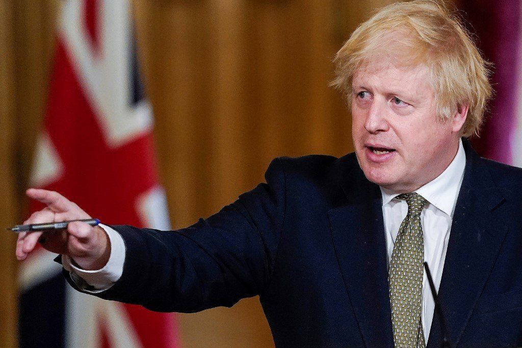 British Prime Minister Boris Johnson speaks in London on 24 May (Andrew Parsons/10 Downing Street/AFP)