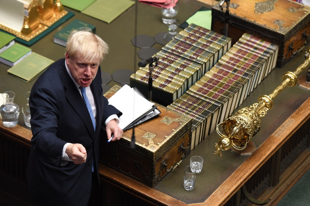 Johnson speaks in parliament on 25 July (Jessica Taylor/UK Parliament/AFP)