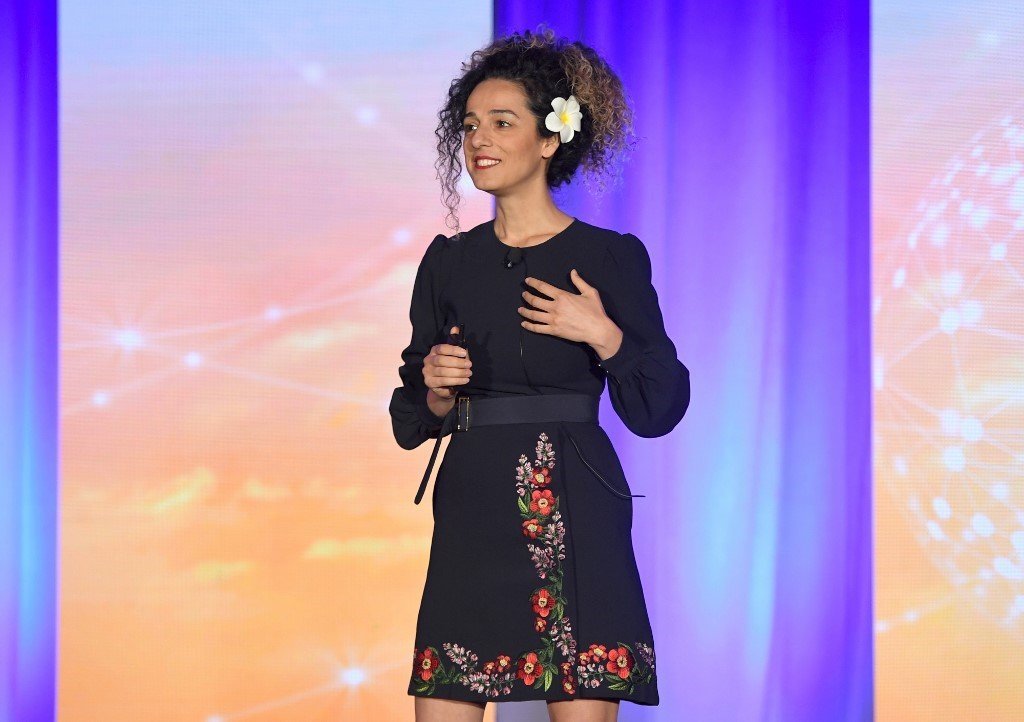 Masih Alinejad speaks onstage during the WICT Leadership Conference at New York Marriott Marquis Hotel on October 16, 2018 in New York City. Larry Busacca/Getty Images for Women in Cable Telecommunications/AFP