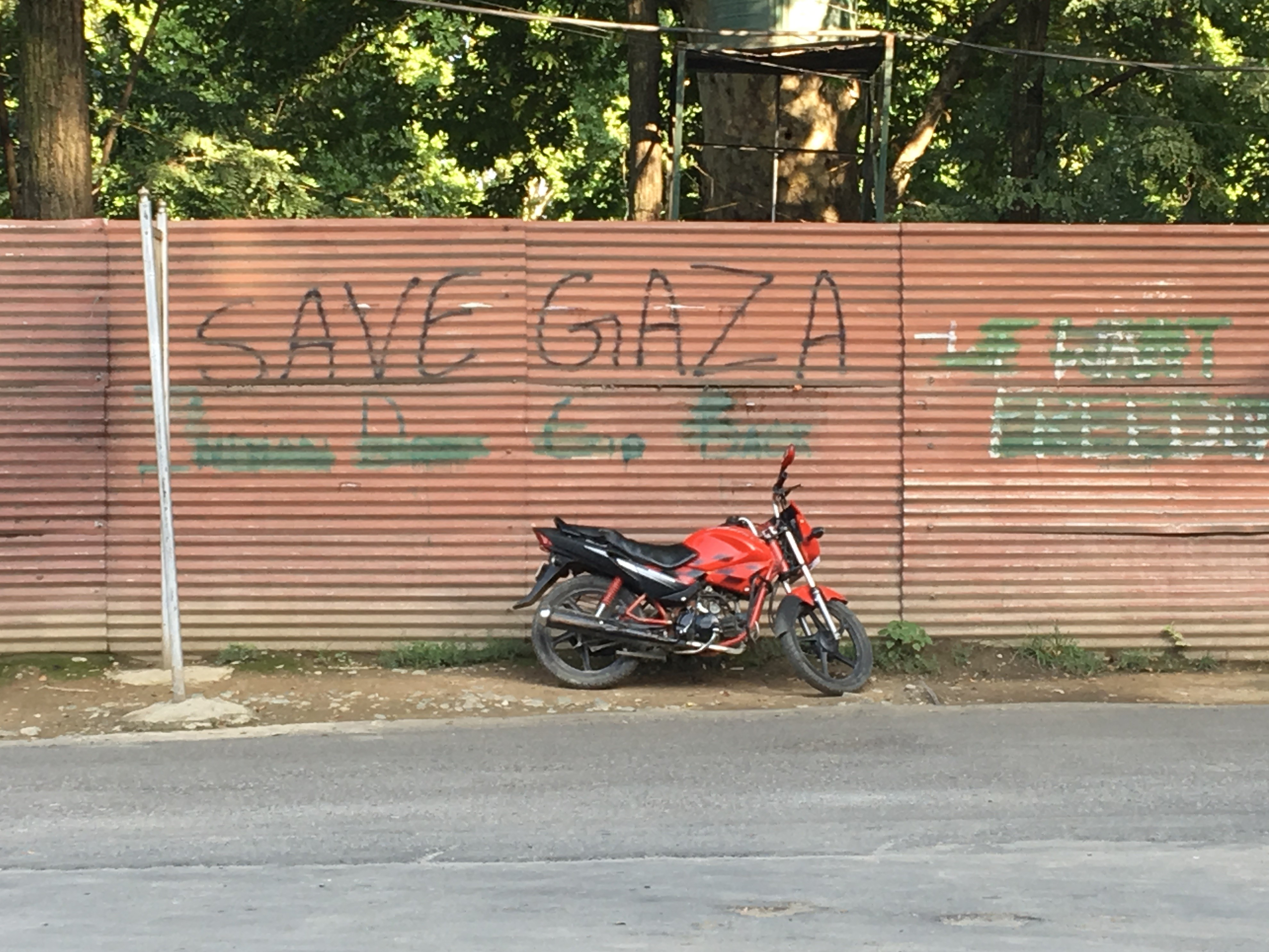 "While the Indian state tries to remove all graffiti that references Kashmiri liberation from the walls and steel shutters, there is little attempt to remove the spray paint that spells ""Free Gaza"" (MEE)"