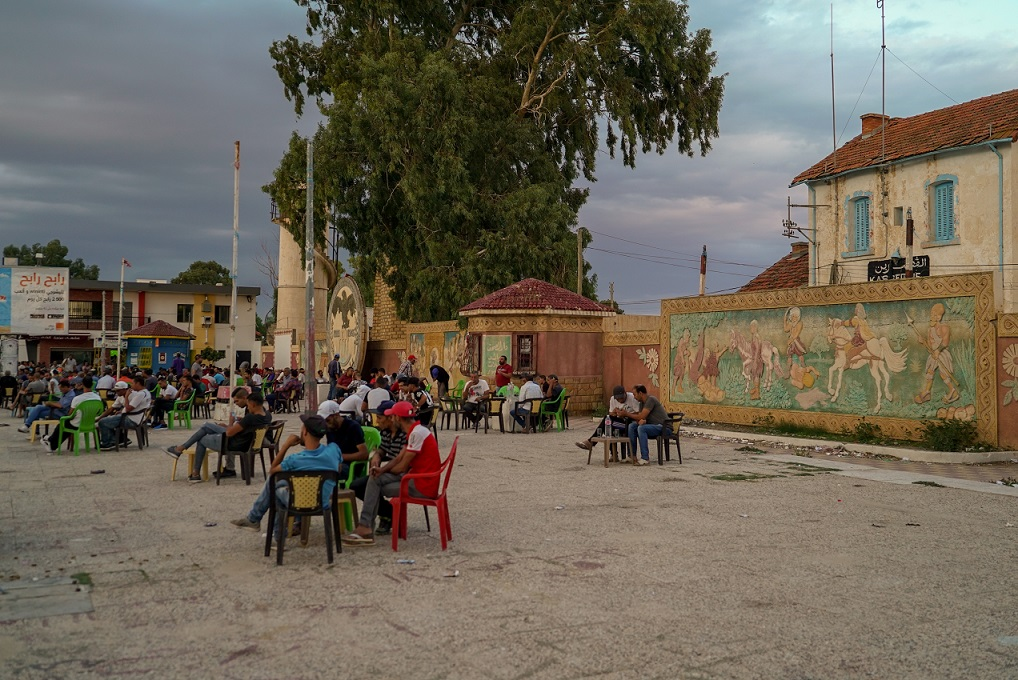 A coffee shop in Kasserine's main square (MEE/Faisal Edroos)