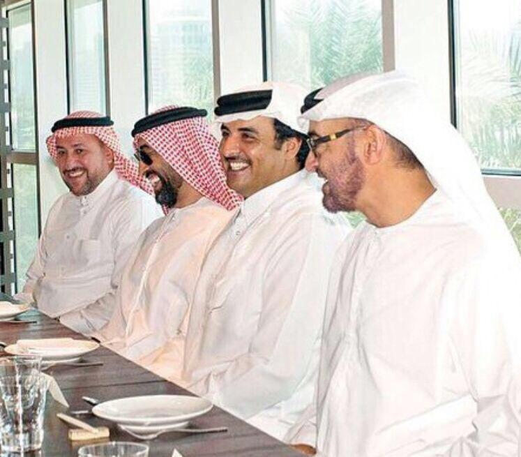 Khanjar (L) with dignitaries including Crown Prince Mohammed bin Zayed of Abu Dhabi (R) and Qatari Emir Sheikh Tamim bin Hamad al-Thani at a lunch in 2014 (Photo supplied)