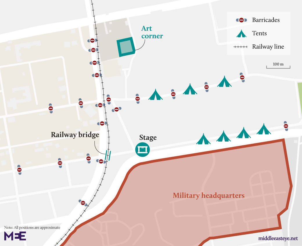 Map of the protest site in Khartoum (MEE)