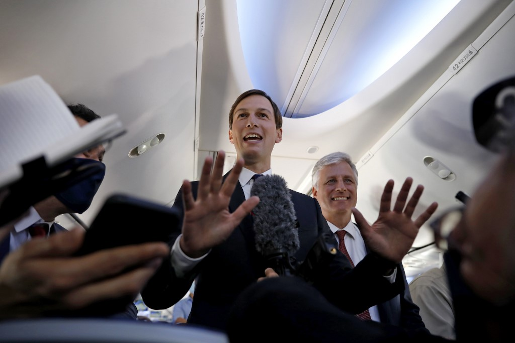 US presidential adviser Jared Kushner speaks aboard the El Al flight on 31 August (AFP)