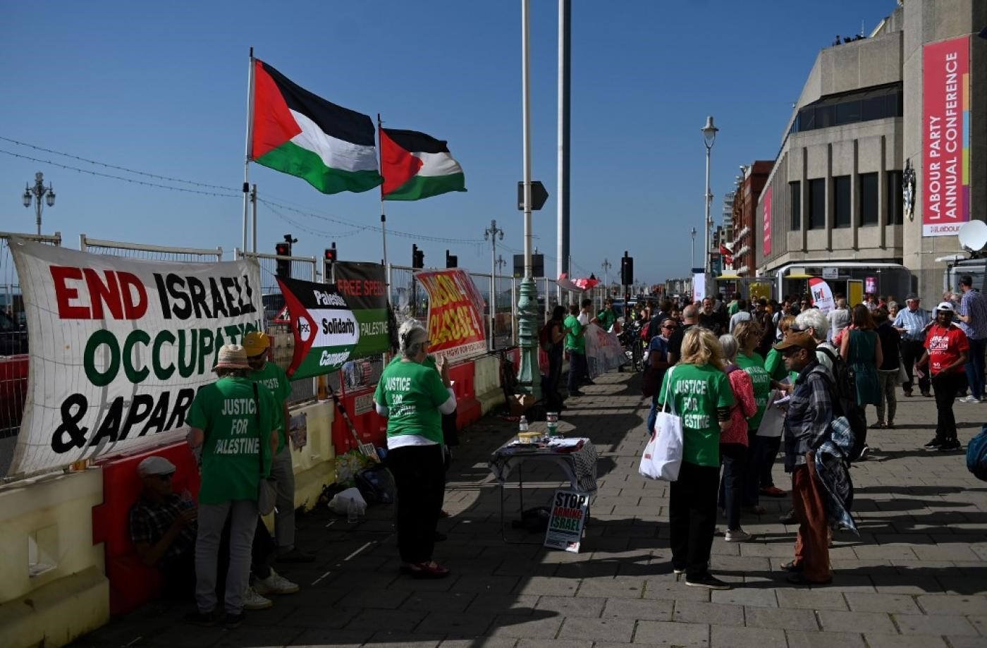 Demonstrators protest outside the Labour party conference in Brighton, on the south coast of England on 21 September 2019 (AFP)