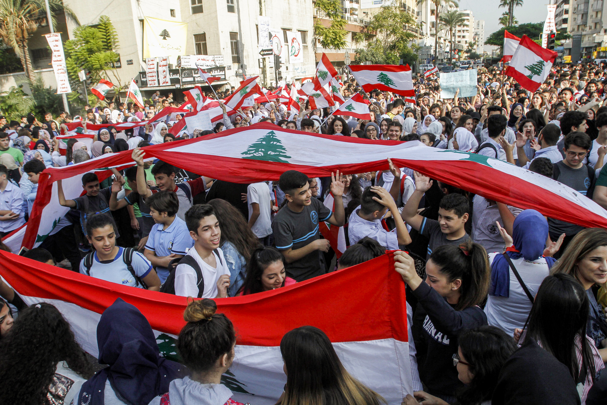 Lebanon anti-government protest Sidon AFP