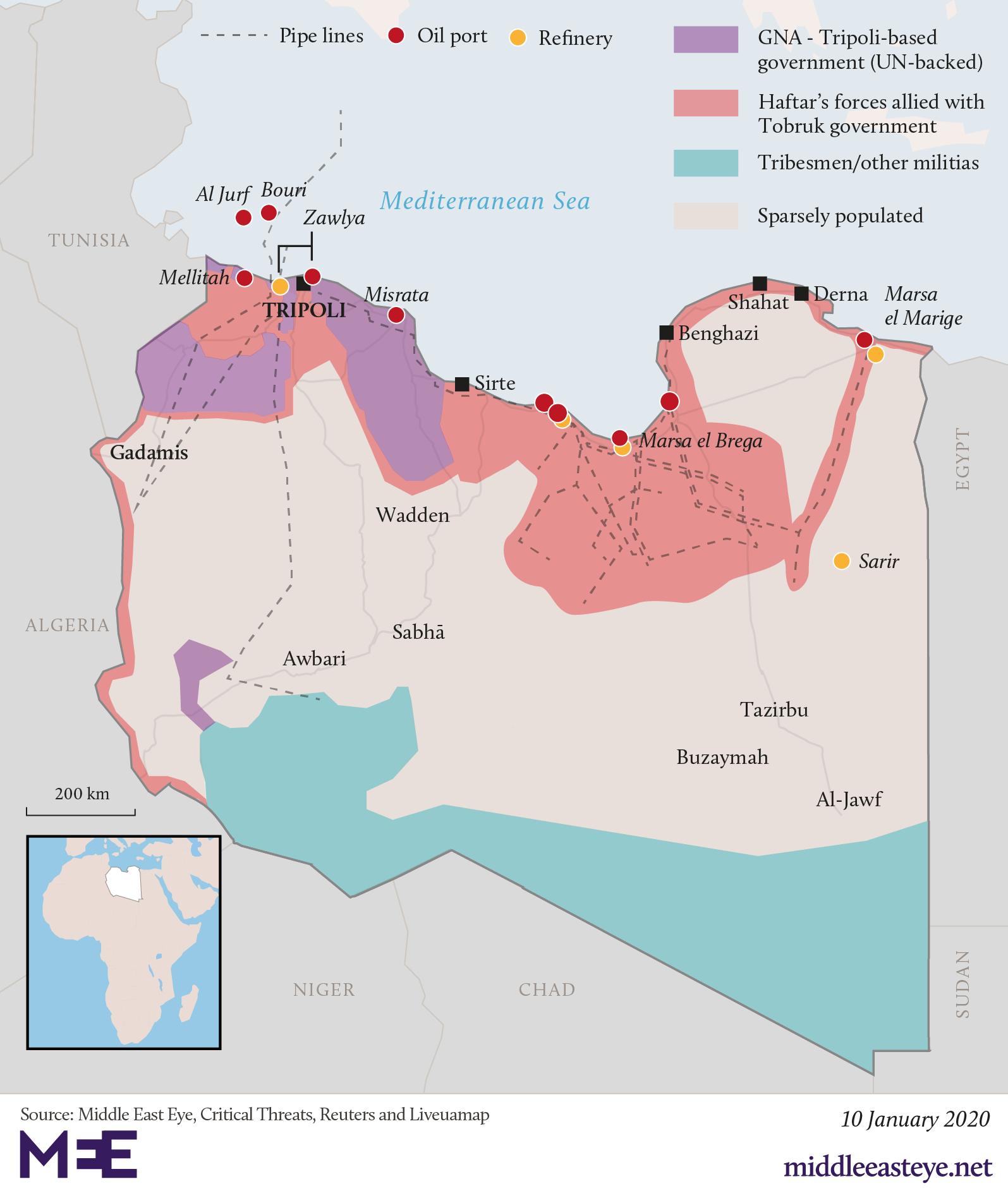 Libische kaart: wie bepaalt wat