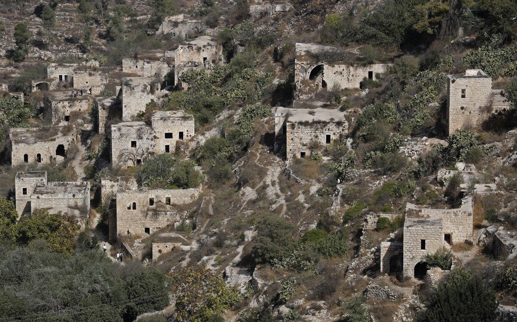 The old Palestinian village of Lifta is pictured in October 2017 (AFP)