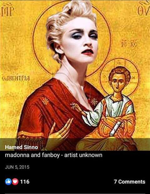 A meme showing the Virgin Mary with the head of pop star Madonna that Hamed Sinno shared (Screenshot)