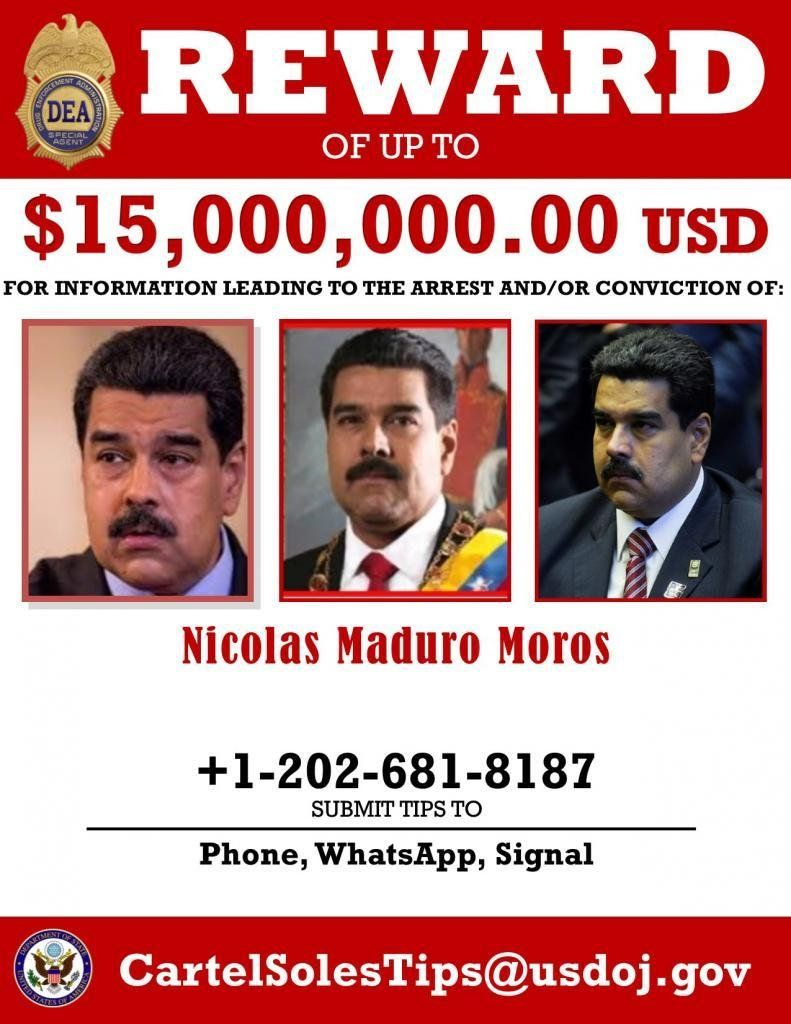 A US wanted poster for Venezuelan President Nicholas Maduro (Supplied)