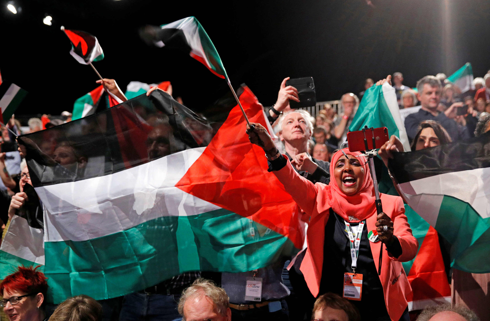 Sea of Palestinian flags at Labour conference during first debate on Palestine