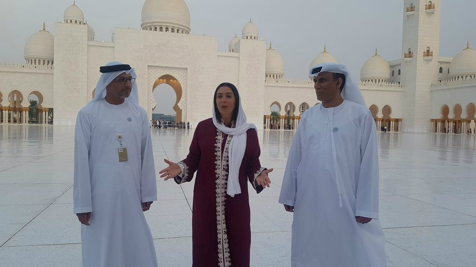 Israeli Culture Minister Miri Regev visits the Sheikh Zayed Grand Mosque in Abu Dhabi in October (Reuters)