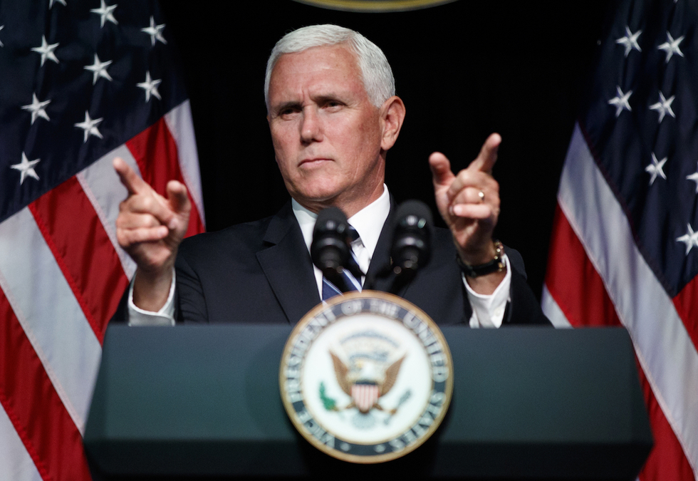 'The time has come for our European partners to withdraw from the Iran nuclear deal and join with us,' said Pence (AP)