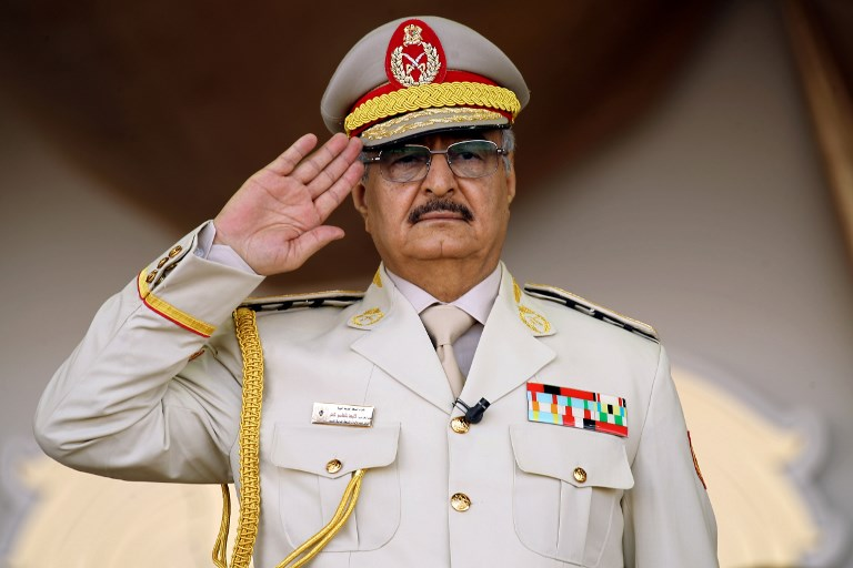 Khalifa Haftar's forces are seeking to control Libya's south (AFP)