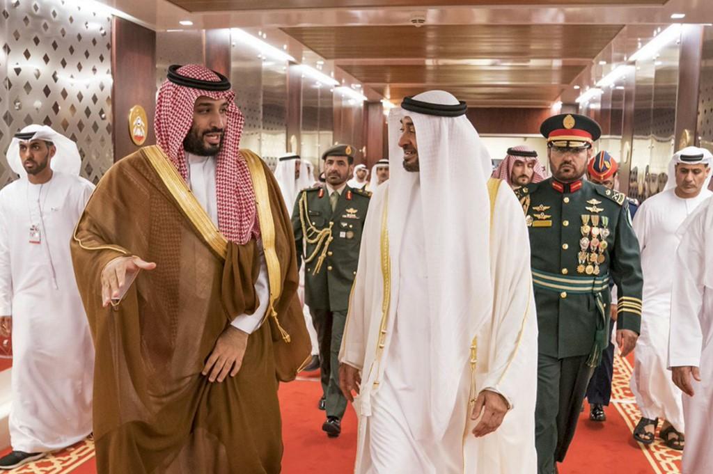 Abu Dhabi Crown Prince Mohammed bin Zayed welcomes Saudi Crown Prince Mohammed bin Salman in Abu Dhabi in November 2019 (WAM/AFP)