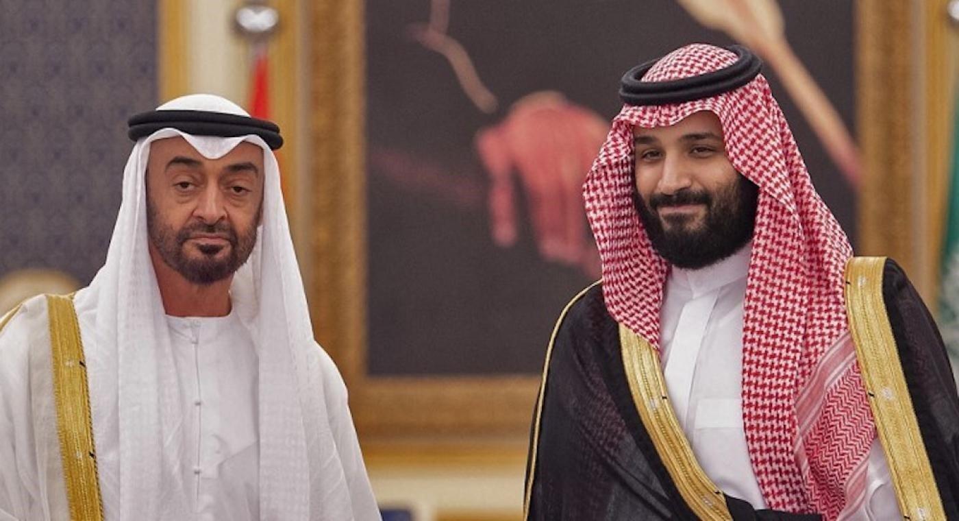 MBZ meets Saudi Crown Prince Mohammed bin Salman in Jeddah in 2018 (Bandar al-Jaloud/Saudi Royal Palace/AFP)