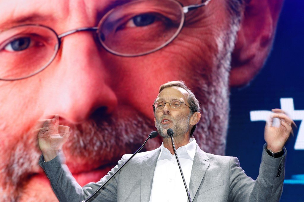 Leader of the far-right Zehout political party Moshe Feiglin speaks to his members in Tel Aviv earlier this year (AFP)
