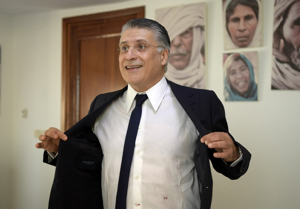 Nabil Karoui speaks during an interview with AFP in Tunis last week (AFP)
