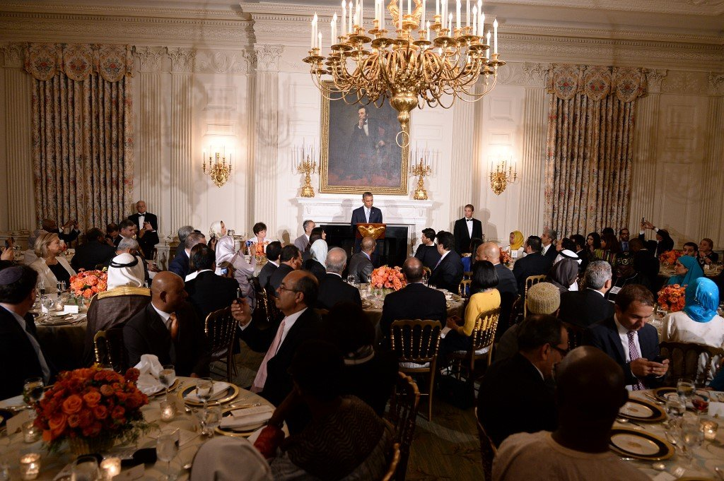 Former US President Barack Obama hosts an iftar dinner at the White House in 2014 (AFP)
