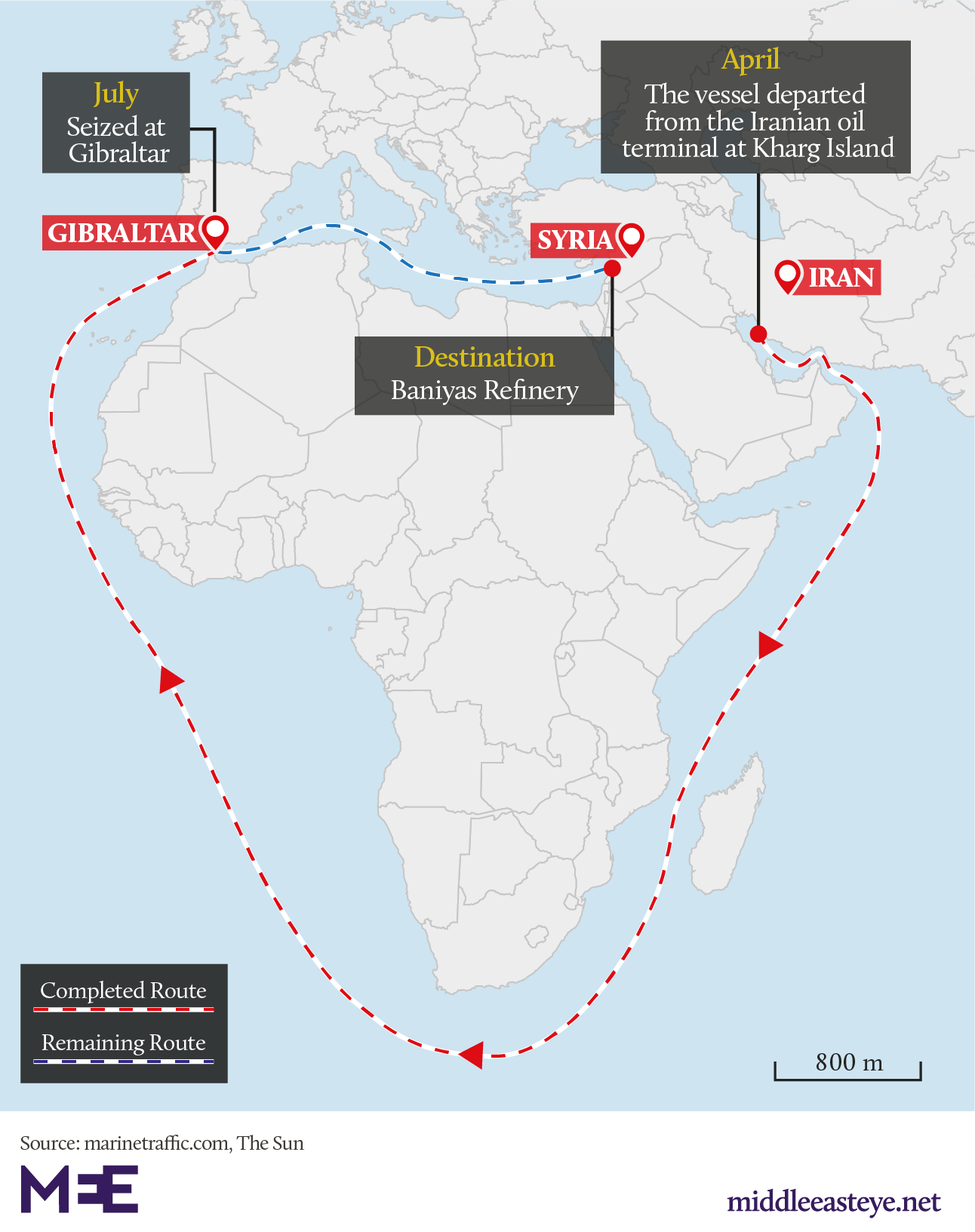 The Grace 1 vessel was tracked off the coast of Iran in April (MEE Graphics)