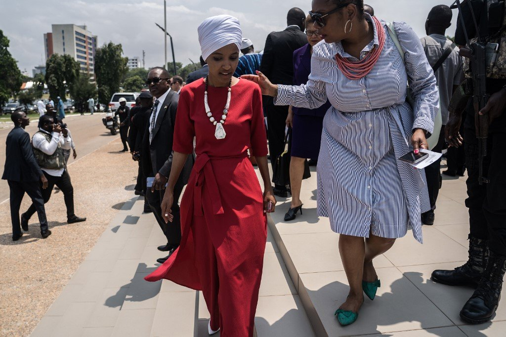 Omar arrives at Ghana's parliament on 31 July, during a visit to mark 400 years since the first slave shipment left for the US (AFP)