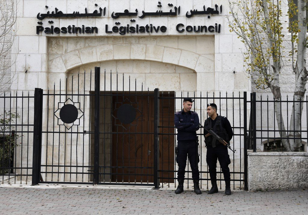 The Palestinian Legislative Council building is pictured in Ramallah on 26 December (AFP)